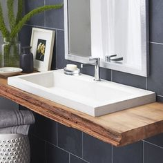 Explore all of the options for your bathroom sink! See beautiful modern bathroom sinks, the perfect sink for small bathrooms ideas, and how to compliment any bathroom vanity with the best sink for you. Stone Bathroom Sink, Ada Bathroom, Floating Bathroom Vanities, Handicap Bathroom, Drop In Bathroom Sinks, Floating Vanity, Remodel Bathroom, Sinks For Small Bathrooms, Modern Bathroom Sink