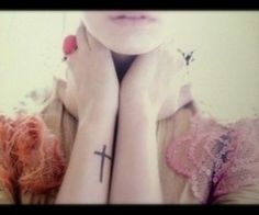 Cross tattoo on wrist. I think this is cool but a little further up. Bobbi Borland Cabe