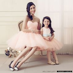 Mother And Daughter Elegance Prom Party Dress Women/Girl Light Green Tulle Mini Cocktail Dress Gowns with bowknot retail