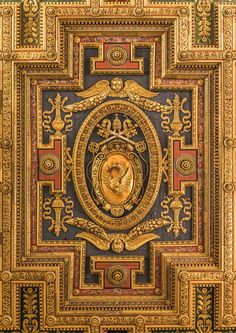 The Coat of Arms of Pope Gregory XIII, ceiling of the church Santa Maria in Aracoeli, detail, Rome, Italy.