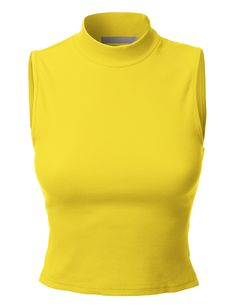 LE3NO Womens Basic Fitted Sleeveless Ribbed Turtleneck Crop Top