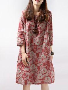 Floral 3/4 Sleeve Linen Crew Neck Print Dress