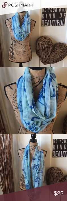 """""""Love this life""""infinity loop scarf Pretty turquoise and blue with a splash of pink love this life infinity scarf has the word sunshine and other positive sentiments in scribed through out with feathers and flowers for a BoHo feel. Love this life Accessories Scarves & Wraps"""
