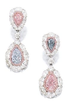 Pair of Coloured Diamond and Diamond Pendent Earrings: Each suspending a pear-shaped light blue and light pink diamond weighing 2.01 and 2.00 carats respectively, to surmount set with a similarly-cut...