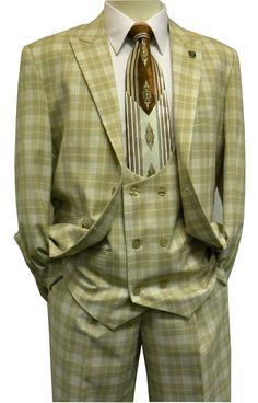 Stacy Adams Men's Tan Plaid Scoop Vest 1920s Fashion Suit 5550-018