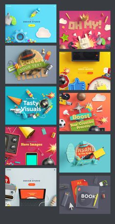 This product was created to help designers make eye-candy scenes that will arouse positive emotions Create scenes in Photoshop easily and use graphics for individual or commercial projects Web Design, Social Media Design, Layout Design, Creative Design, Creative Advertising, Advertising Design, Wordmark, Brand Presentation, Social Media Banner