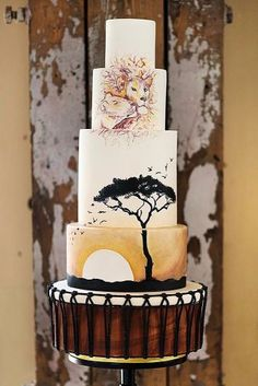 traditional wedding cakes unique wedding cakes tall african theme with lion and lioness hongphotography via African Wedding Cakes, African Wedding Theme, Unique Wedding Cakes, Wedding Cake Designs, Wedding Cake Toppers, Unique Weddings, African Theme, Wedding Ideas, African Safari
