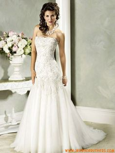Hotel verkoop rimpels A-Lijn borduurwerken Appliqué Krans Sliding fabelachtige riemless jurk