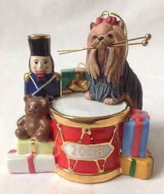 Danbury Mint Yorkshire Terrier 2008 Annual Christmas Ornament Yorkie Dog Drum
