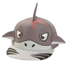 Amazon.com: Childrens/Kids 3D Animal Design Flat Peak Snapback Baseball Cap (22 Inches) (Grey (Shark)): Clothing