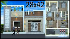 Front Elevation Designs, House Elevation, House Front Design, Modern House Design, Jaali Design, House Map, Family House Plans, Architects, 3d