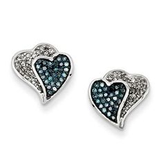 1/3 Carat Blue White Diamond Heart Earrings In Sterling Silver Available Exclusively at Gemologica.com