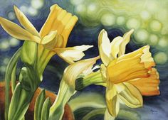 Yellow Daffodils - watercolor by Marney Ward Watercolor Flowers, Watercolor Paintings, Flower Paintings, Painting Flowers, Watercolors, Illustration Art, Illustrations, Watercolor Techniques, Mellow Yellow