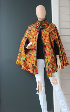 African Print Kante Print Cape African Print Cape by VchicDesigns