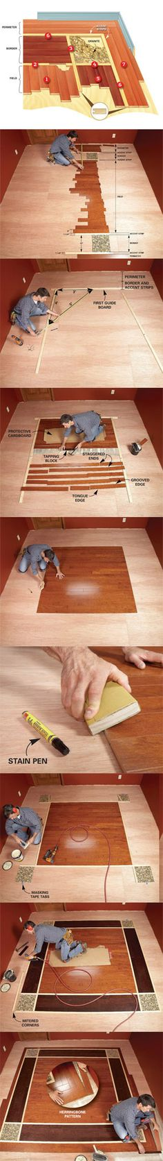 Mix and match colors of wood laminate flooring, add a few stone tiles as accents, and suddenly you've made an extraordinary wood floor for the same cost as an ordinary one. Learn how to create an exciting design with prefinished wood laminate flooring at http://www.familyhandyman.com/DIY-Projects/Flooring/Laminate-Flooring/diy-hardwood-floors-lay-a-contrasting-border/View-All