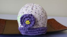 Hat for baby girl - hand knitted 100% coton on Etsy, $18