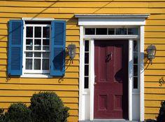 red door blue shutters yellow house | Washington, Virginia | jody ...