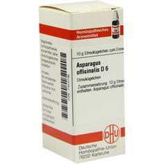 ASPARAGUS officinalis D 6 Globuli:   Packungsinhalt: 10 g Globuli PZN: 07454796 Hersteller: DHU-Arzneimittel GmbH & Co. KG Preis: 5,50…