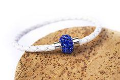 White Leather bracelet with Blue Rhinstone Bangles, Bracelets, White Leather, Sapphire, Rings, Blue, Collection, Jewelry, Women