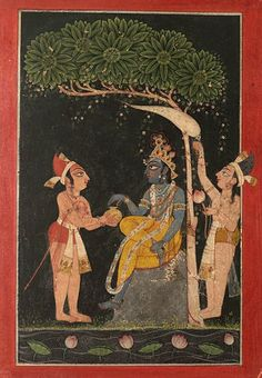 Krishna with attendants. Date: first quarter 18 century A.D. India, Punjab Hills, Mankot. Krishna sits under a tree with an attendant holding a fly-whisk behind him as another figure offers him a pot.