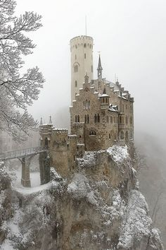 Lichenstein Castle in the Snow.  Gothic revival, 1840's, Baden-Württemberg, Germany