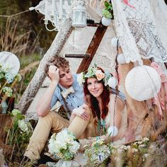 Are you a gypsy at heart? Love all things pretty and boho? Stunning bohemian engagement with gypsy tent, flower crown in a grassy paradise.