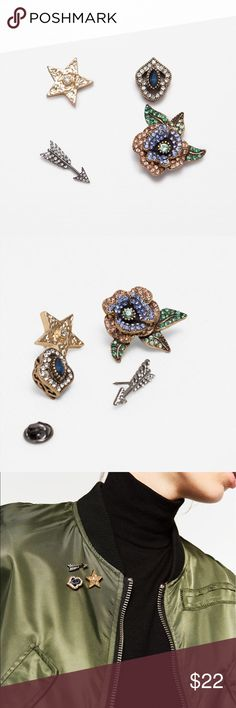 Zara shiny badge pins: arrow, star, flower, jewel Add interest to any outfit with these shiny pins... wear alone or as group.. still in original packaging Zara Accessories