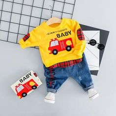 Baby Boy Casual Car Clothes Set 2019 Newest Spring Cartoon Clothing For Toddler Letter T shirt + Jean Pants Outfit 1 2 3 4 Years Cartoon Outfits, Cartoon T Shirts, Baby Cartoon, Cartoon Kids, Pants Outfit, Outfit Sets, Jeans Pants, Baby Boy Outfits, Kids Outfits