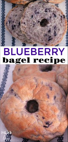 Blueberry Bagels Recipe Love the taste of bagels, but don't have the time or money to go to a bagel shop each day? Check out this Blueberry Bagels Recipe, and see how easy it is to enjoy yummy bagels without ever leaving the house. Healthy Bagel, Vegan Bagel, Brunch Recipes, Breakfast Recipes, Breakfast Ideas, Blueberry Bagel, Vegan Blueberry Recipes, Bagel Bread, Breakfast