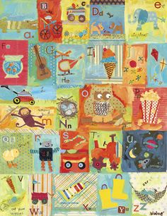Oopsy Daisy Favorite Things Alphabet Boy Stretched Canvas Wall Art by Winborg Sisters, 24 by - - Collage style children's stretched canvas wall art featuring the alphabet and items loved b Art Auction Projects, Class Art Projects, Auction Ideas, Group Projects, Alphabet Art, Alphabet And Numbers, Boy Wall Art, Abc Wall, Daisy