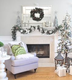 silver and white mantel (for Home Depot Style Challenge)