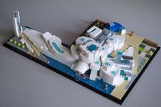 Microscale architecture model of the Guggenheim Museum Bilbao designed by architect Frank Gehry