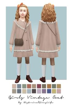 TS4: Girls Vintage Coat (single colored) First coat ready for the seasons pack! This will be perfect for the fall ;) The coat is from sims 3. It comes in 20 solid colors info: • bgc • converted from sims 3 • vertices: 3910 / polygons: 4085 • 20...