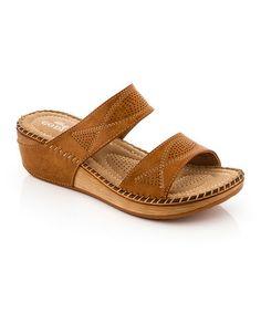 Look what I found on #zulily! Tan Twist Stitch Sandal by Lady Godiva #zulilyfinds