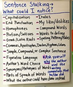 Sentence Stalking Anchor Chart for using Mentor Sentences in Word Study Ffa, Beginning Of Year, Anchor Charts, Word Study, Rabbits, Mentor Sentences, Teaching, Journal, Memes