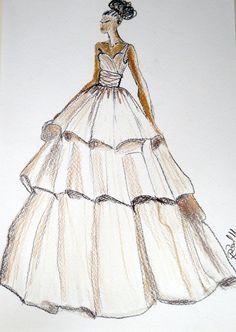 Robe de mariée mariage robe de dessin , dessin personnalisé personnalisé  première année papier cadeau d\u0027anniversaire , couches robe sketch , portrait