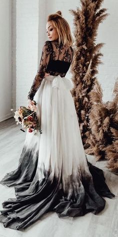 Dark Romance: 24 Gothic Wedding Dresses ❤ gothic wedding dresses a line black and white lace top with sleeves sweetcarolinestyles ❤ #weddingdresses