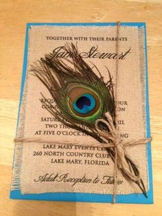 Peacock and Burlap Wedding Invitations