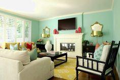 Eclectic living room design with green blue walls, flatscreen tv, fuchsia Moroccan lanterns, West . Colourful Living Room, Eclectic Living Room, Paint Colors For Living Room, My Living Room, Home And Living, Living Room Designs, Living Spaces, Room Paint, Paint Bathroom
