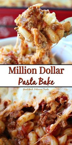 Million Dollar Pasta Bake is a delicious pasta recipe with ground beef, cream ch. Million Dollar Pasta Bake is a delicious pasta recipe with ground beef, cream cheese, mozzarella cheese and lots more deliciousness. Ground Beef Pasta, Dinner With Ground Beef, Ground Beef Casserole, Ground Beef Meals, Baked Pasta Recipes, Easy Baking Recipes, Cooking Recipes, Chicken Recipes, Rigatoni Recipes