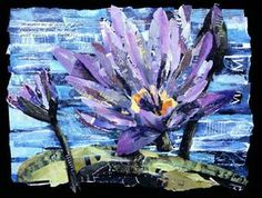 Eileen Downes artist collage flower colorful torn paper painting
