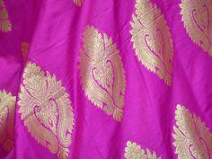 Silk Brocade Fabric Magenta Gold Weaving, Banaras Brocade Fabric, Indian Silk, Wedding Dress Fabric, Banarasi Art Silk by the Yard