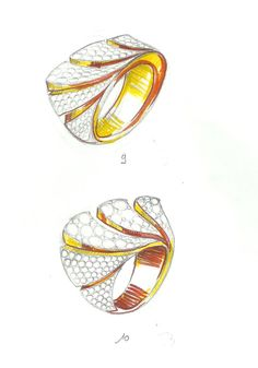 Croquis projet de bague création JBPDESIGN Wooden Jewelry, Sea Glass Jewelry, Jewelry Art, Jewellery Sketches, Jewelry Sketch, Metal Drawing, Ring Sketch, Gouache, Jewelry Design Drawing