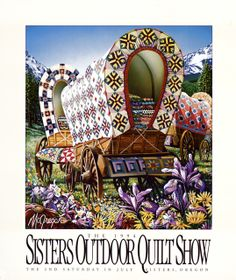 """""""Oregon Trail"""" by Dennis McGregor.              Rare collectible Sisters Outdoor Quilt Show poster from 1994."""
