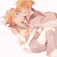1boy 1girl ascot blonde_hair blush brother_and_sister closed_eyes detached_sleeves flower hair_ornament hair_ribbon hairpin hand_on_another's_head hetero incest kagamine_len kagamine_rin kiss looking_at_another lying makoji_(yomogi) musical_note necktie on_back ponytail ribbon sailor_collar short_hair siblings vocaloid