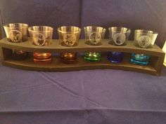 Magic the Gathering (MTG) Shot Glass Set with Holder. Acid Etched, Dishwasher Safe. The glass is colored it is not colored liquid. on Etsy, $30.00