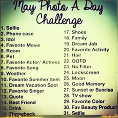 may photo challenge instagram | May photo a day Challenge – Instagram