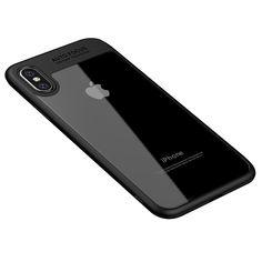Hybrid TPU Bumper + Clear PC Back Phone Case for Apple iPhone X - Black