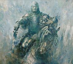 "Kazakh painter Dosbol Kassymov. ""Kul Tigin"" (Kultegin – political and military figure of the Second Turkic Kaganate)"