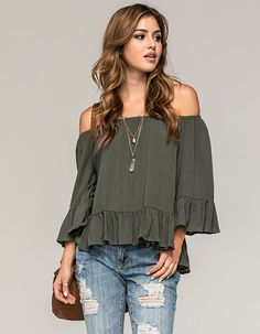 Tilly's FULL TILT Off The Shoulder Ruffled Womens Top Found on my new favorite app Dote Shopping #DoteApp #Shopping